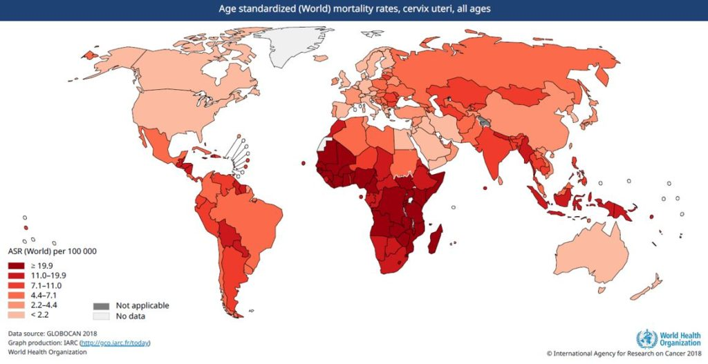 Age standardized World mortality rates - cervix uteri - all ages